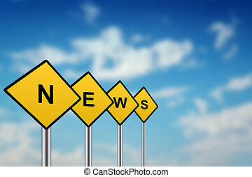 news on yellow road sign