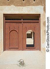 Fort Al Zubarah - Main doorway of the rebuilt historic Fort...
