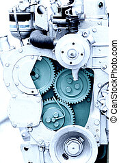 Diesel engine section - Close up of diesel engine section...