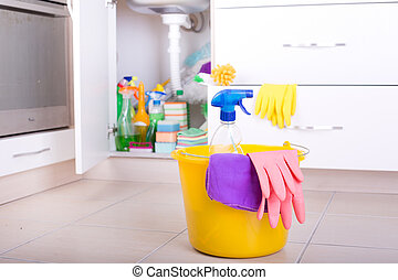 Kitchen cleaning concept - Spray bottle, cloth and rubber...