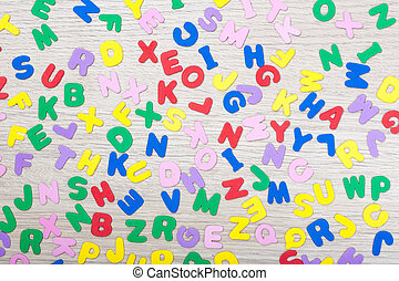 Letter cluster with english word school - A cluster of...