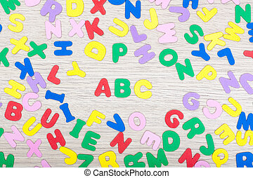Letter cluster with ABC - A cluster of colored letters on...