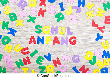 Letter cluster with german word Schulanfang - A cluster of...