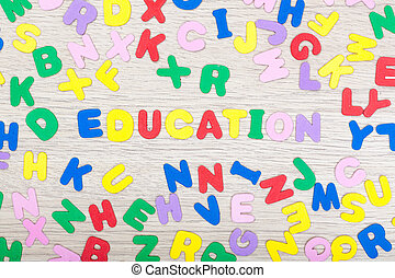 Letter cluster with english word education - A cluster of...