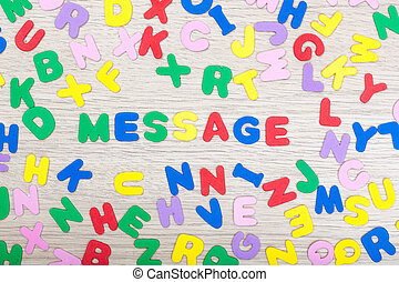 Letter cluster with english word message - A cluster of...