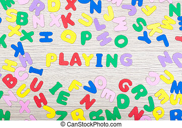 Letter cluster with english word playing - A cluster of...