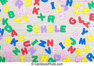 Letter cluster with german word Schule - A cluster of...