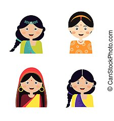 Illustration of the face an Indian girls in colorful sari -...