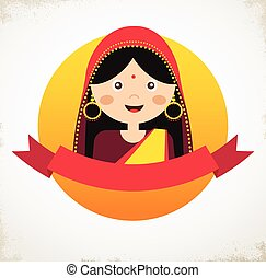 Illustration of the face an Indian girl in colorful sari -...