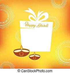 Yellow color vector card design for Diwali festival with...