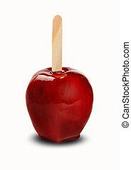 Amor, maçã, maçã, crocante, fundo, caramelized, branca,...