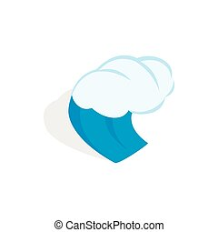 Water wave icon, isometric 3d style