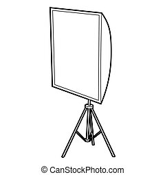 Softbox icon, outline style - Softbox icon in outline style...