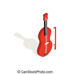 Violin icon in isometric 3d style - icon in isometric 3d...