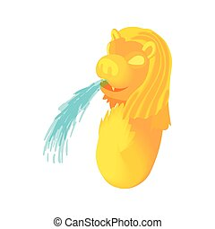 Statue of lion-fish Merlion icon, cartoon style - Statue of...