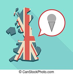 Long shadow United Kingdom map with a comic balloon and a cone ice cream