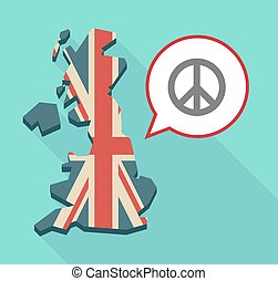 Long shadow United Kingdom map with a comic balloon and a peace sign