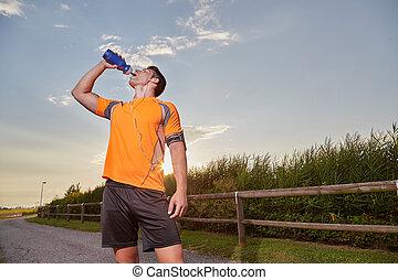 running man drinking - running man