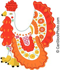 Bright toy cock in Russian Dymkovo style. Vector illustration.