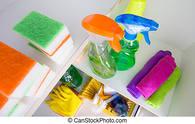 Cleaning supplies in pantry - Top view of cleaning supplies...