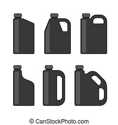 Blank Black Plastic Canisters Icons Set for Motor Machine...