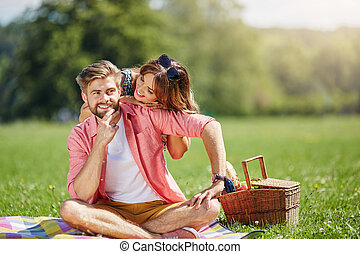 What are you thinking about - A photo of young couple having...