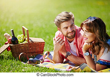 Young couple planning their future - A photo of young, happy...