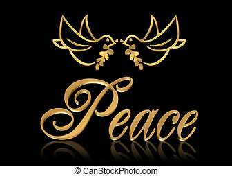 Christmas Peace doves - Christmas golden Peace doves with 3...
