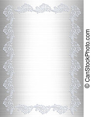 Wedding invitation white satin lace