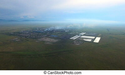 Aerial shot Industrial area Aldel Aluminum smelter in...