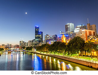 Beautiful Melbourne sunset skyline with Yarra river...