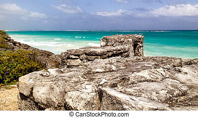 Tulum rocks on the ocean, Mexico