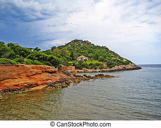 Colorful rocky coast, peninsular Victoria, Majorca -...