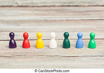 wood pawns of various colors, diversity - seven wooden...