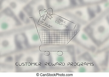 shopping cart with huge free coupon - shopping cart with...
