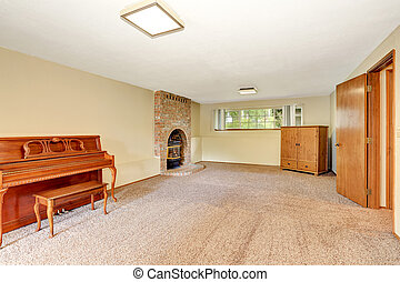 Empty living room interior with fireplace, carpet floor and...