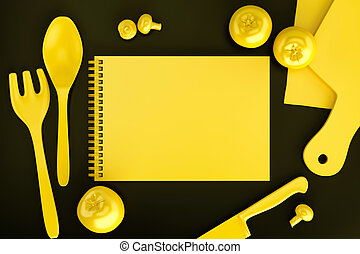 Recipe book on a kitchen table. Top view. 3D illustration