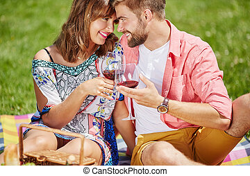 Im so happy with you - A photo of young couple celebrating...