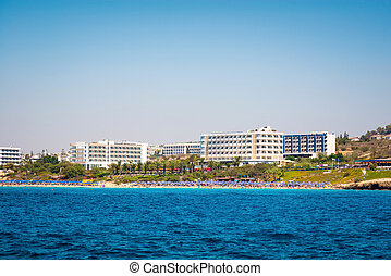 Coastal line of Ayia Napa with beach and hotels. Famagusta...