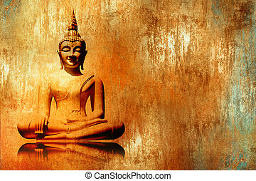 Buddha background in retro design - Buddha image in lotus...