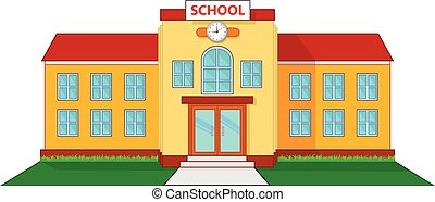 School building cartoon - vector illustration of School...
