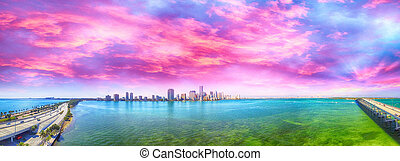 Miami. Rickenbacker Causeway and Downtown aerial view at...