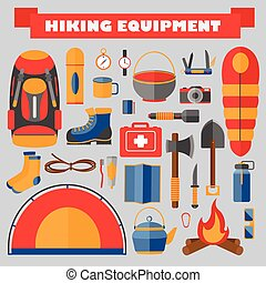 Vector set of hiking and camping equipment. Tourism icons.