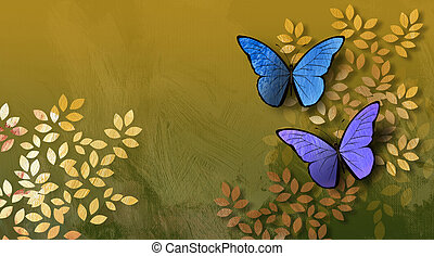 Graphic Leaves and Butterflies