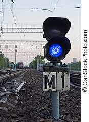 blue semaphore signal on railway - blue semaphore signal on...