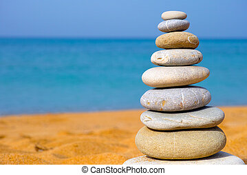 Stack of stones on the beach - Stack of stones on the sea...