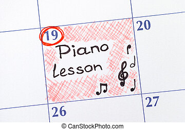 Reminder Piano Lesson in calendar
