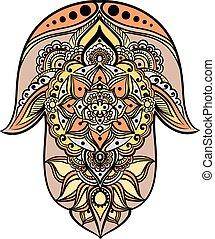 the multicolored hamsa - drawing of a Hand of Fatima (Hamsa)...