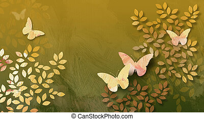 Graphic Leaves and butterflies abstract