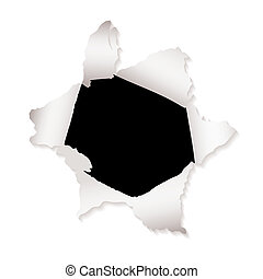 paper hole explode - White paper with torn paper hole and...